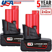 2x For Milwaukee M12 12v Lithium Xc 6.0 Battery 48-11-2460 New 5.0ah 48-11-2440