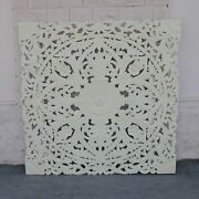 Made To Order Dynasty Hand Carved Indian Wooden Carved Panel Bedhead White
