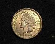 Hsandc 1897 Indian Head Penny/cent Red Full Luster Coin. Very Choice Bu Gem Red