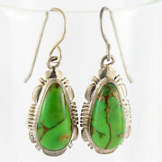 Copper Green Mojave Turquoise-925 Sterling Silver Earrings Jewelry Navajo Signed