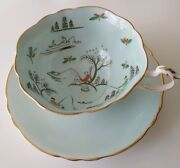 Paragon Bone China Mint Green Teacup And Saucer A1664andnbspman Fishing / Fisherman