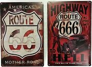 8x12 Tin Signs 2pc Set Route 66 Highway America Funny 666 Hell Hot Rod Wall New
