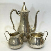 J.s. And Co Hand Hammered Sterling Silver Tea Coffee Pot Sugar And Creamer Set Of 3