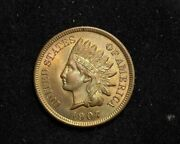Hsandc 1907 Indian Head Penny/cent Bright Even Golden Toning Bu Choice Red