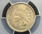 Hsandc 1860 Indian Head Penny/cent Pcgs Ms63 Pointed Bust Most Lustre - Us Coin
