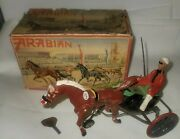 Vintage German Tin Wind Up Arabian Sully Race Horse And Jockey Boxed Working
