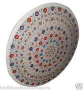 36 White Marble Dining Center Table Top Multi Inlay Floral Bedroom Decor H905