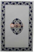 50x30 White Conference Table Lapis Inlaid Floral Pietradura Cyber Monday Gifts