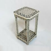 Made To Order Indian Handmade Handicraftcamel Bone Inlay Side Table Black Floral