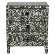 Made To Order Indian Handmade Bone Inlay Floral Bedside Cabinet Lamp Table Black