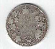 Canada 1905 50 Cents Half Dollar King Edward Vii Canadian Sterling Silver Coin