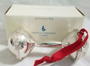 New Pottery Barn Kids Baby Rattle Heirloom Ornament Silver Christmas -j