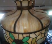 Antique Vtg Mission Arts And Crafts Leaded Slag Stained Glass Lamp Shade, Fruit