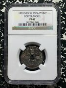 1929 New Guinea 1 Penny Ngc Pr67 Lotg373 Scarce Proof 400 Minted