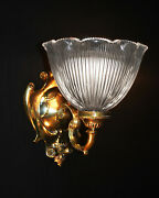 Rare Victorian Tudor Style Arts And Crafts Wall Light Scone Large Holophane Shade