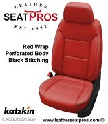 Leather Seat Covers 2019 2020 2021 Silverado Double Crew Cab Black Red Perfed