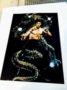 Vintage Bruce Lee 8 X 10 Picture With A Dragon Promotional Copyright Way Out