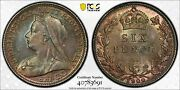 1900 Great Britain 6 Pence Sixpence Pcgs Ms64 Lotg526 Silver Beautiful Toning