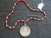 Thomas Jefferson Indian Peace Medal, Sinew Trade Bead Necklace Pe-032105345
