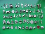 L Vintage Sterling Silver Charms Charm Aries Keys 21 Rings Clog Bible Horse Cab