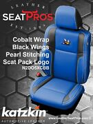 Leather Seat Covers 2015-21 Dodge Challenger Cobalt Black Scat Pack Logo White