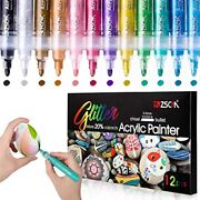 Acrylic Markers Easter Eggs Painting Pens, Zscm 12 Colors Glitter Rock For Kids