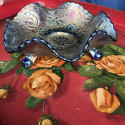 Vintage Fenton Carnival Glass Cobalt Blue Ruffled Footed Candy Dish Bowl