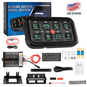 Auxbeam 8 Gang Switch Panel Automatic Dimmable Green Led On-off Car Truck Atv