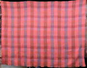 Authentic Hermes Wool Throw Blanket Pink Checkered Pattern Plaid Scotland