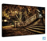 Dead Leaves Covered The Stairs Of A House Canvas Print Wall Art Picture