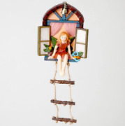 Fairy House With Ladder Hanging Tree Sculpture Outdoor Tree Statue Hand Painted