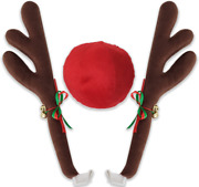 Oxgord Car Reindeer Antlers Nose - Christmas Decorations For Car - Window Roof