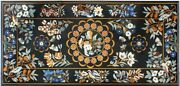 26and039and039x52and039and039 Black Marble Dining Gemstone Table Top Marquetry Inlay Home Decor B053