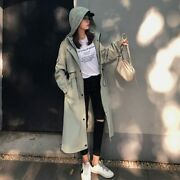 Fashion Womens Trench Coats Hooded Long Adjustable Waist Spring Autumn
