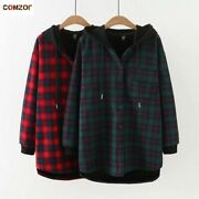 Plus Size Women Trench Coat Fleece Thick Hooded Loose Plaid Coats Long Sleeve