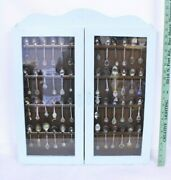 56 Usa Souvenir Spoon Collection In Blue Hanging Window Case