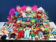 Vtg 80s 90s Lot 50 Troll Dolls Plush Russ Berrie Itb Hyi Ace Novelty Used