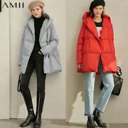 Amii Winter Women 90 White Duck Down Coat Female Casual Solid Loose Thick