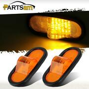 2 Amber 24 Led Reflective Oval Mid Turn Signal Marker Light Rubber Mount Utility