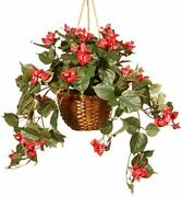 13 Inch Bamboo Hanging Basket With Small Red Flowers And Green Stems Christma...