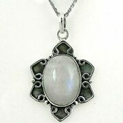 925 Sterling Silver Pendant Necklace Rainbow Moonstone Handmade Jewelry Ps-1706