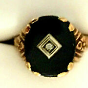 Antique Solid 10 K Gold Natural Black Onyx And Diamond Accent Ring , Size 5.5