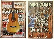 8x12 Tin Signs 2pc Set Country Music Guitar Woods Cabin Camping Outdoor Vintage