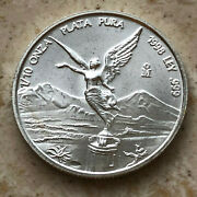 Mexico Libertad 1998 1/10 Onza Silver .999 Low Mintage Year Only 6,400