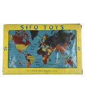 Vintage Sifo Toys - 1950's Wooden Map Puzzle In Original Box World Map Rare