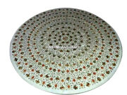 White Marble Dining Table Abalone Floral Rare Inlay Hallway Art Decoration H3393