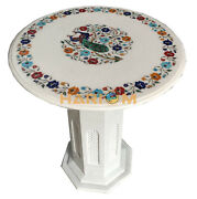 24 Marble Coffee Top Table With 28 Stand Hanndcarved Peacock Inlay Decor W002b