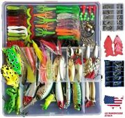 275 Pcs Set Fishing Tackle Box Full Loaded Accessories Hooks Lures Baits Worms