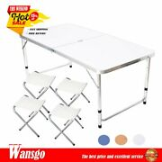 Kitchen Dining Garden Picnic Camping Folding Portable 4-chair Table Set Outdoors