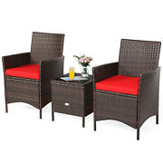 Patiojoy 3pcs Patio Rattan Furniture Set Cushioned Sofa Glass Tabletop Deck Red